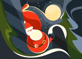 Banner with Santa Claus on the background of moon. vector