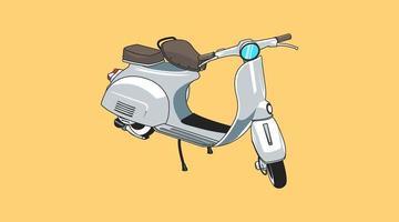 Retro scooter cartoon transportation illustration vector