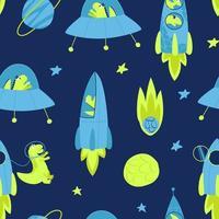 Children seamless pattern with space dinosaur vector