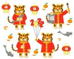 Chinese 2022 lunar tiger new year set isolated vector