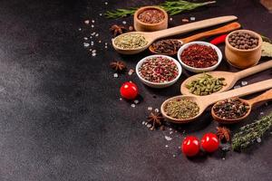 A set of spices and herbs. Indian cuisine photo