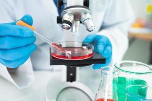 Asian scientist biochemist or microbiologist working research photo