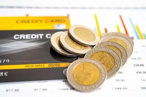 modelo de tarjeta de crédito y monedas con caja de carrito de compras foto