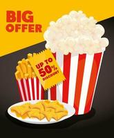 poster of big offer with popcorn and delicious food vector
