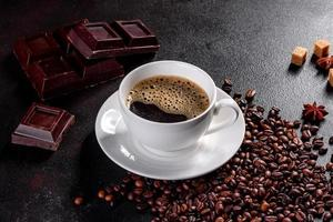 A cup of fresh scented morning coffee for a cheerful start to the day photo