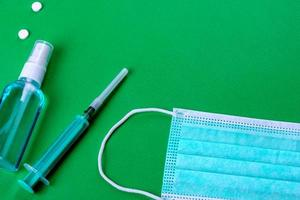 Medical supplies on a colored background as an attribute photo