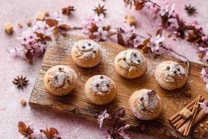 Fresh baked cupcakes of rice flour with banana and vanilla photo