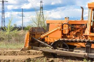 Excavadora de obra de construcción industrial foto