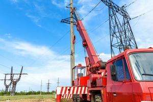 Installation of column for high-voltage electricity line photo