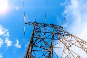 pilar eléctrico de alto voltaje desde abajo foto