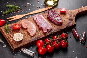 Fresh juicy steak of beef, pork and chicken photo