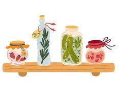 Shelf with jam and various jars. Compotes pickles jam olive oil vector