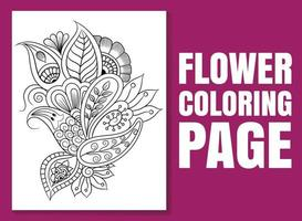 Floral coloring book page for adults and children. coloring page vector