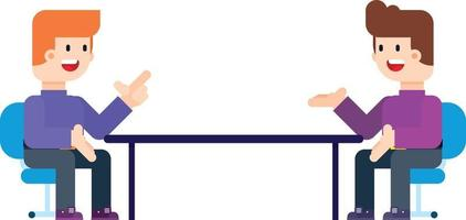 Two Men Sitting in Chairs Facing Each Other Having in Conversation. vector