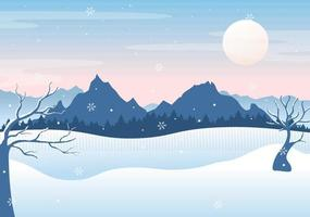Christmas Winter Landscape and New Year Background Vector Illustration