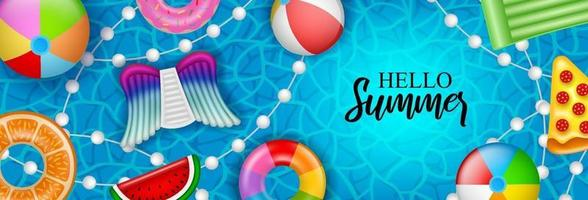 Hello summer banner with colorful inflatable vector