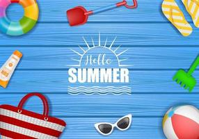 summer background with realistic elements vector