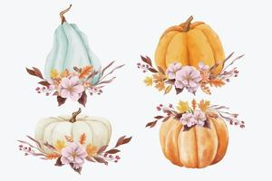 Autumn pumpkins and leaves in watercolor style vector