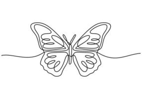Continuous one line drawing of beautiful butterfly vector