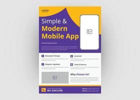 Mobile app promotion flyer template vector