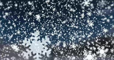 White snowflakes on a winter blurry background. Snowfall video
