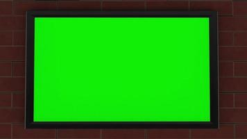 3D Rendering Flat Green Screen TV on a Brick Wall Slow Zoom video