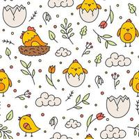 Easter vector seamless pattern with chickens and flowers