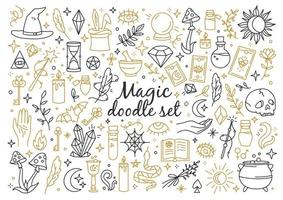 A magical and witchcraft set of doodle style icons vector