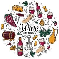 Vector circular color set with wine and cheese in Doodle sketch style.
