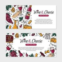 Wine and cheese is a flyer for a restaurant or cafe vector