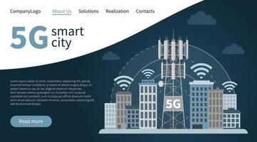 5G tower base station smart city landing page. vector