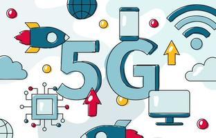 5G wireless network technology flat vector banner