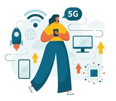 5g network fifth generation high speed and woman vector