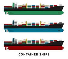 Red green blue container cargo ship set vector