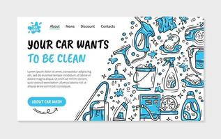 Landing page or flyer for the car wash and auto detaling vector