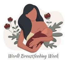semana mundial de la lactancia materna, mujer con lactancia materna vector