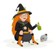 A witch girl brews a potion for happy Halloween vector