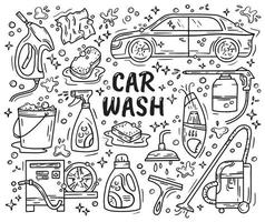 Car wash and detaling set of doodle icons vector