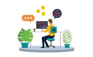content creator or video editor freelancer vector