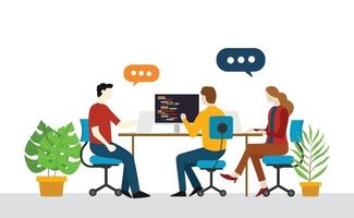 programmer engineer team startup discuss on the office vector