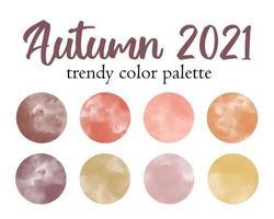 Autumn 2021 fashion trendy color palette. Watercolor swatches vector