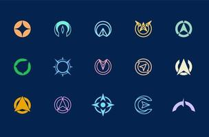 compass logo design, set of abstract logo templates for identity vector