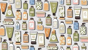 patrón que se repite sin fisuras con los cosméticos. un conjunto de botellas y tubos vector