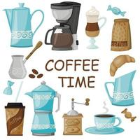 Coffee maker, coffee grinder and everything related to coffee. vector