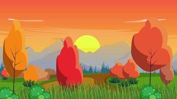 puesta de sol en la llanura en temporada de otoño video
