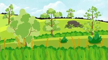 el cielo nublado sobre la llanura verde es la temporada de primavera video