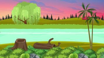 el río ondulado en medio de la llanura verde video