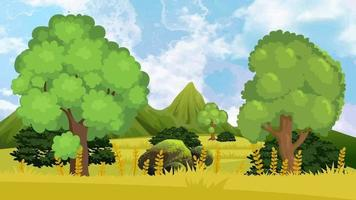 día ventoso en la llanura verde por la mañana video