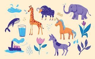 Doodle drawing children book illustration set vector