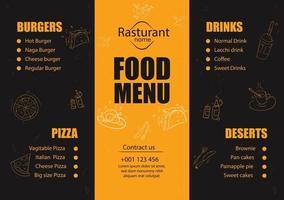 Restaurant menu vector design template